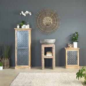 Chevet industriel bois et métal ajouré noir, 1 porte