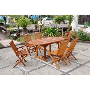 Lubok : Salon de jardin Teck huilé 6 personnes - Table ovale + 4 chaises + 2 fauteuils