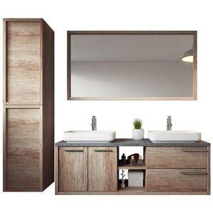 Meuble de salle de bain Vermont 150cm lavabo nature wood – Armoire de rangement Meuble lavabo miroir - BADPLAATS
