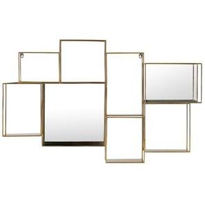 Étagère murale miroir en métal doré