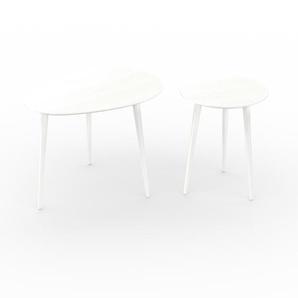 Tables basses - blanc, ovale/ronde, design scandinave, set de 2 tables basses - 67/40 x 50/50 x 50/40 cm, personnalisable