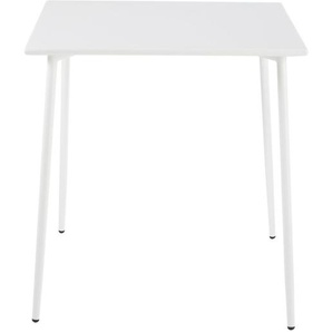Table de jardin carrée en métal blanc 4 personnes L70 Zinav