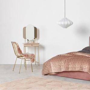 Delia, lit double (140 x 200) avec sommier et rangement, velours rose blush