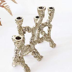 Penao Chandelier décoration, décoration Tendance Tendance Art Moderne, bougeoir à Cinq têtes irrégulière Champagne Indien en métal doré