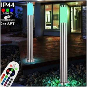 Ensemble de 2 lampadaires LED RGB, acier inoxydable, opale, H 80 cm, BOSTON - ETC-SHOP