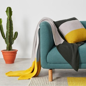 Narvik, plaid tricoté 100% coton à motif 130 x 170 cm, gris et jaune moutarde
