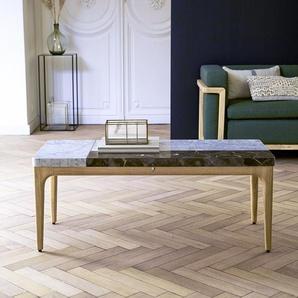 Table basse Stonepiet en bois de chêne et marbre 111x48