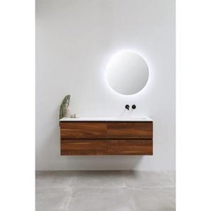 INK Faktor Meuble 140x1.5x45cm avec miroir rond 70cm vasque droite polystone sans trous blanc mat et meuble noix sans poignées 3407237