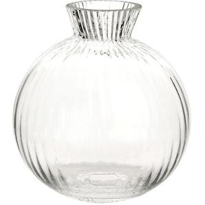 Vase boule en verre strié H12
