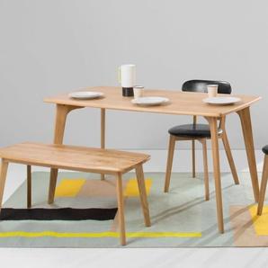 Fjord, ensemble table rectangulaire et bancs, chêne