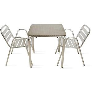 Table de jardin carrée en aluminium et 2 fauteuils Nothing Hill - Gris - OVIALA