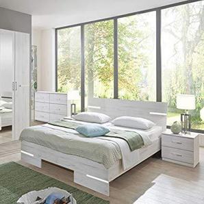 PEGANE Chambre Adulte Imitation chêne Blanc en Panneaux de Particules - Dim : 140 X 200 cm