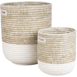 2 paniers à linge en fibres naturelles