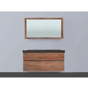 Saniclass Natural Wood Meuble salle de bain avec miroir 120cm suspendu Grey Oak avec vasque en pierre naturelle Black Spirit