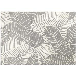 Tapis gris imprimé feuillages écrus 140x200