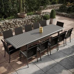 Table de jardin extensible aluminium 220/320cm + 12 fauteuils empilables textilène Gris Anthracite - ANDRA XL - Gris anthracite - AVRIL PARIS