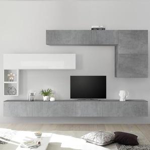 Meuble TV suspendu blanc laqué et gris PIANA