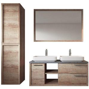Meuble de salle de bain Vermont 120cm lavabo nature wood – Armoire de rangement Meuble lavabo miroir - BADPLAATS