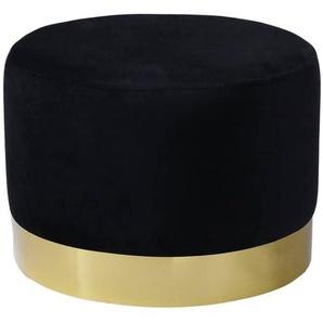Prima XL - Pouf Velours Noir et Base Métal Doré