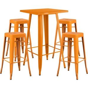 Lot de Table Haute LIX & 4 Tabourets Hauts LIX Orange Safran - INDECEMI