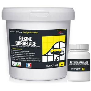 PEINTURE CARRELAGE cuisine & salle de bain - RESINE CARRELAGE | RAL 9005 Noir foncé - Kit 2.5 Kg jusquà 25 m² pour 2 couches - ARCANE INDUSTRIES