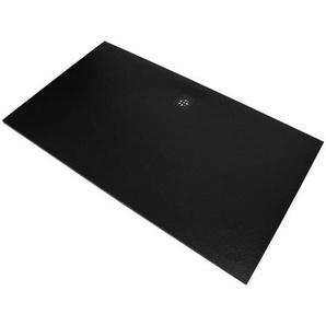 Saniclass Relievo Receveur de douche 180x90cm Fine Stone antibactérienne et antidérapant noir mat avec siphon peu profond 90mm 9228