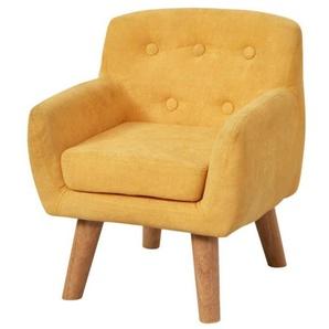 CHARLOTTE Fauteuil enfant pieds bois chêne - Tissu jaune - Scandinave - L 42 x P 39 cm
