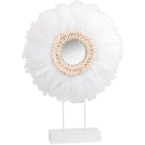Statue en plumes blanches et coquillages H47