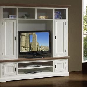 Ensemble meuble TV contemporain en bois massif blanc EMELINE