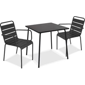 Table de jardin carrée et 2 fauteuils empilables en acier thermolaqué Palavas - Gris - OVIALA