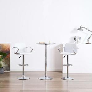 Chaises de bar avec accoudoirs 2 pcs Blanc Similicuir - VIDAXL
