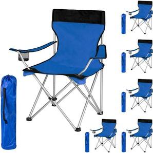 Lot de 6 Chaises de Camping pliables avec Porte Gobelet et Housse Sac de Transport Bleu Noir - TECTAKE