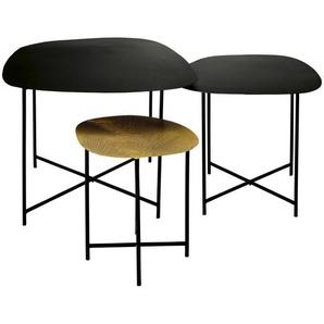 Tables gigognes en métal coloris laiton gravé et métal noir Kampala
