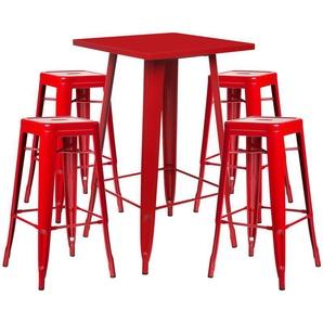 SKLUM - Lot de Table Haute LIX & 4 Tabourets Hauts LIX Rouge Acier