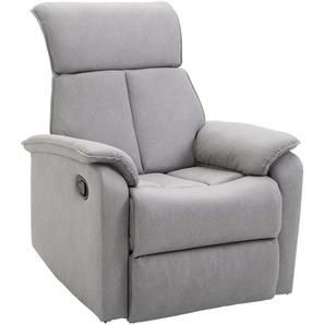 Fauteuil de relaxation grand confort pivotant 360° dossier inclinable repose-pied ajustable simili cuir tissu gris clair - HOMCOM