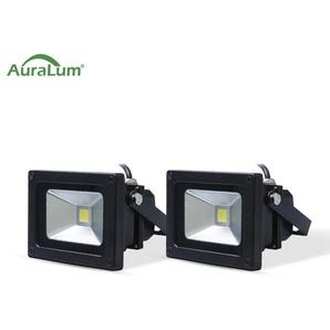 2×Auralum 10W Projecteur LED IP65 Éclairage Extérieur et Intérieur 800-850LM Spot LED Blanc Foird 6000K Coque Noir