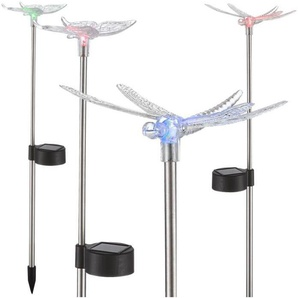 Globo Lighting Lot de 2 Papillons et 2 Libellules solaires sur tige inox - Plastique noir - Plastique translucide - IP44