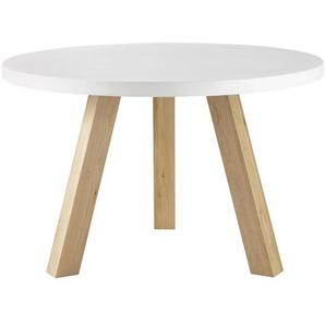 Table à manger 5/6 personnes en béton blanc et chêne D120 Chuppa