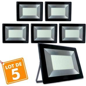 Lot de 5 Projecteurs 100w Forte luminosité 8500 Lumens de IP65   Température de Couleur: Blanc neutre 4000K - ECLAIRAGE DESIGN