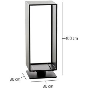 Porte-bûches Basil noir mat 30x30x100 cm - CLP