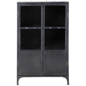 Cabinet de rangement vitré indus en métal noir L 75 cm Edison