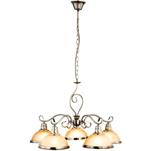 Suspension LED, laiton antique, verre ambré, H 138 cm, SASSARI - ETC-SHOP