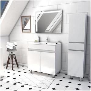 Ensemble Meuble de salle de bain blanc 60cm sur pied + vasque ceramique blanche + miroir led integree + meuble colonne sur pied - STARTED pack 42 - AURLANE