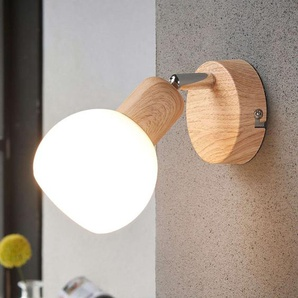 Spot LED attrayant Svenka, à 1 lampe bois