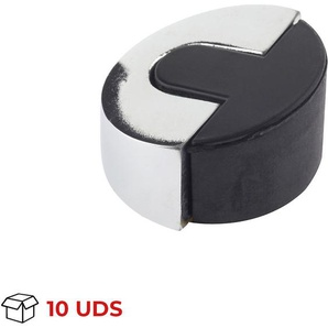 Boîte avec 10 Butée de porte adhésive REI en acier inoxydable, finition inox brillant et forme elliptique