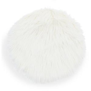Galette de chaise imitation fourrure blanche D38 cm