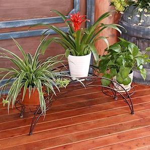 FuweiEncore Présentoirs à Fleurs en Fer forgé/à échelle de Balcon de Style européen/Supports à Pots Multicouches/présentoirs à Fleurs en Forme darche-E (coloré : F)