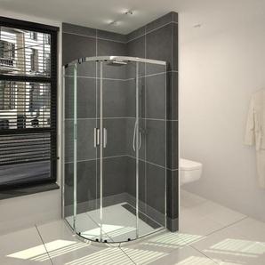 Saniclass Cansano Cabine de douche quart de rond avec portes glissantes 80x80x190cm avec verre transparent chrome SW23953