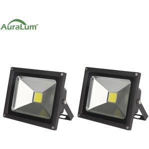 2×Auralum 50W Projecteur LED IP65 Spot LED 4200-5000LM Éclairage Extérieur et Intérieur Blanc Froid 6000-6500K Coque Noir