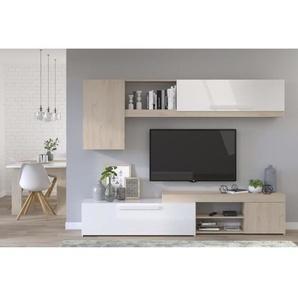 BACKSTAGE Meuble TV - Décor Chêne Jackson et blanc brillant - L 250cm